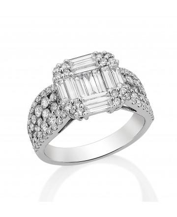 Anel Quadrado Diamante