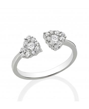 Anel Dois Corações Diamante