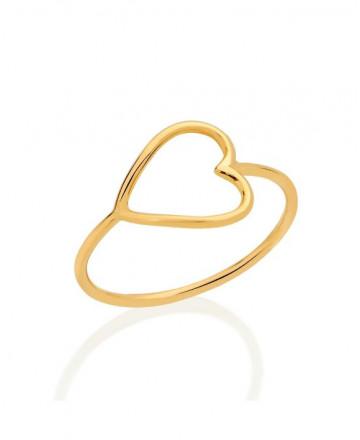 Anel Coração Ouro Amarelo