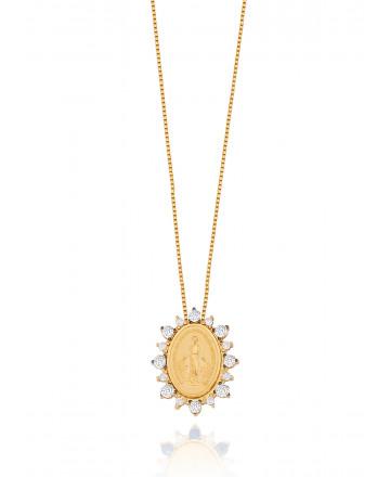 Colar N. Sra. das Graças Diamante Ouro Amarelo